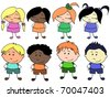 Cute little boys and girls of different nationalities - stock vector