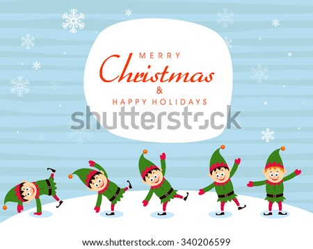 Cute little boys enjoying and celebrating on occasion of Merry Christmas. - stock vector