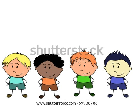 Cute little boys of different nationalities - stock vector