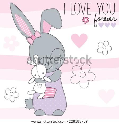 cute little bunny vector illustration - stock vector
