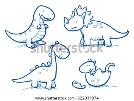 how to draw a cute cartoon dinosaur