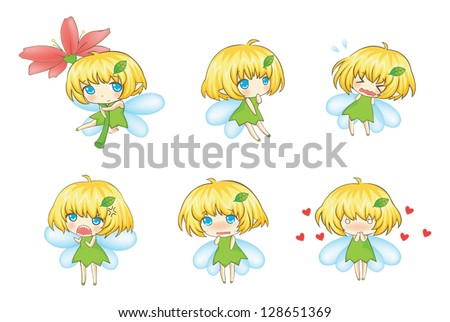 Cute Little cartoon Fairy or nymph Set in various expression and action icon set, create by vector