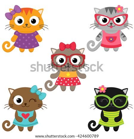 Cute little cat girls wearing dresses. Vector illustration - stock vector