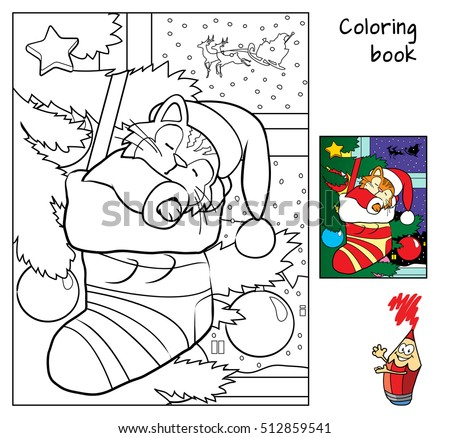 Cute Little Cat Sleeping In Christmas Socks Near Tree Coloring Book Cartoon Vector