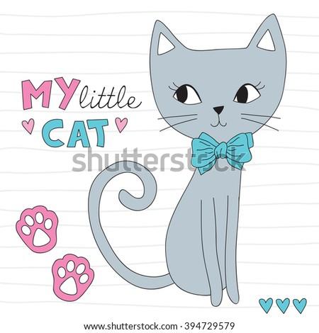 cute little cat vector illustration - stock vector