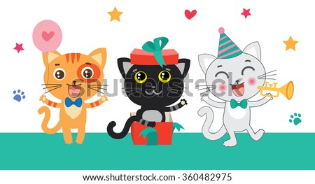 Cute Little Cats Invitation. Cartoon Animal Vector Collection. Congratulates Card. Cutie Cat Pictures. Cutie Birthday Cat Drawing. Celebration Cat Card.  - stock vector