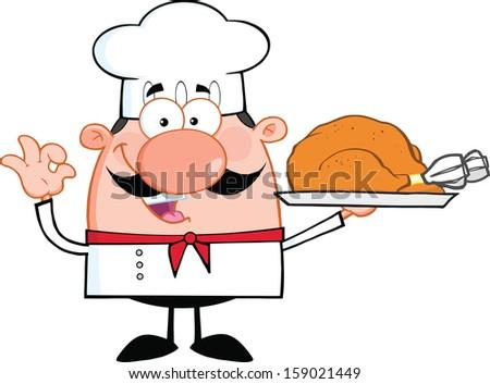 Cute Little Chef Cartoon Character Holding Whole Roast Turkey. Vector Illustration Isolated on white - stock vector