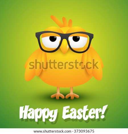 Cute little chicken in black eye glasses on green background, Easter card. - stock vector