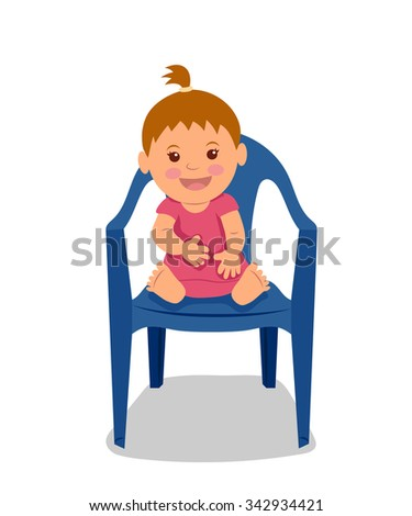 Cute little child sitting on the chair and smiling. Little girl in a pink dress. - stock vector