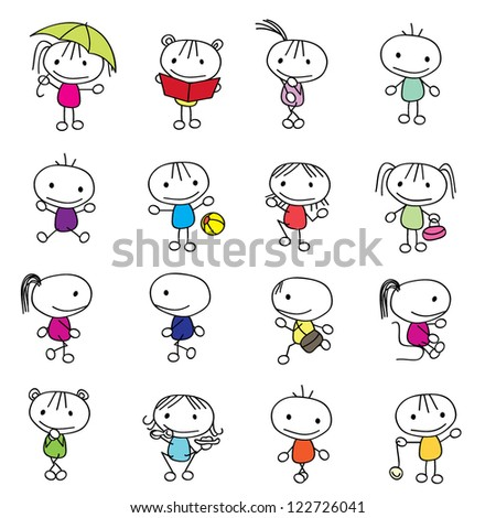 cute little children isolated with different poses - stock vector