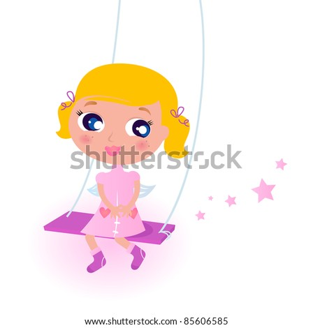 Cute little christmas Angel Girl isolated on white Little Chrismas blond Girl in pink Costume isolated on white
