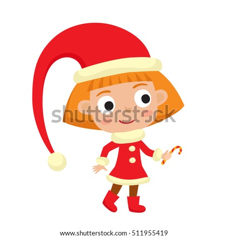 Cute little Christmas girl elf in red costume smiling with candy, vector illustration isolated on white used for magazine or book, poster and card, web pages.