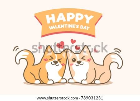 Cute Little Couple Pembroke Welsh Corgi Dog With Happy Valentineu0027s Day  Banner