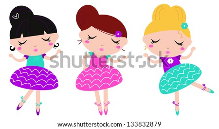 Cute little dancing ballerina girls set isolated on white - stock vector