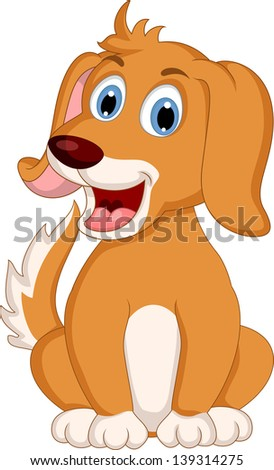 cute little dog cartoon expression - stock vector