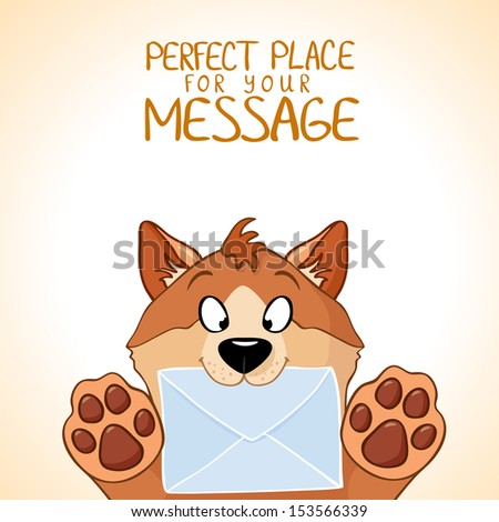 Cute little dog is holding a letter - stock vector