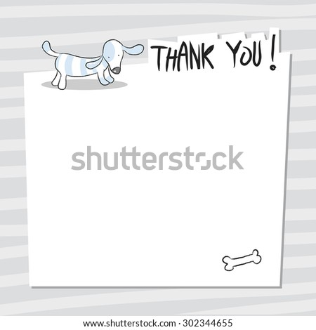 Cute little dog, puppy thank you card, with blank space for text insertion. Doodle style, sketchy vector illustration.  - stock vector