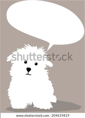 Cute little dog with bubble speech - stock vector