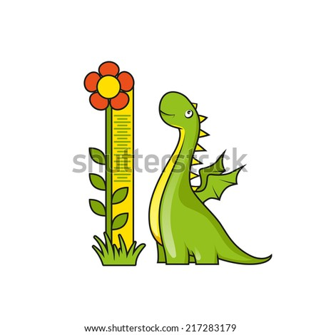 Cute little dragon with height measuring scale - stock vector