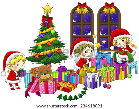 Cute little elves are celebrating Christmas in isolated background with black outline, create by vector - stock vector