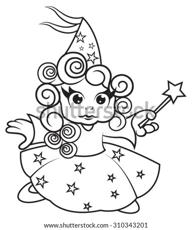 Cute little fairy girl - coloring page for kids