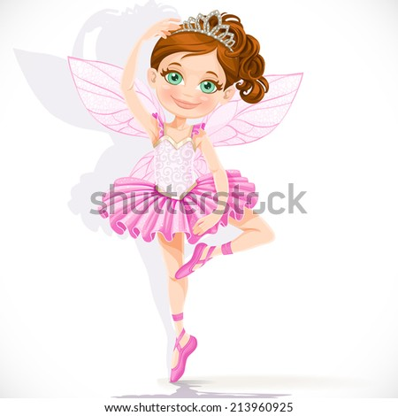Cute little fairy girl in pink tutu and tiara isolated on a white background - stock vector