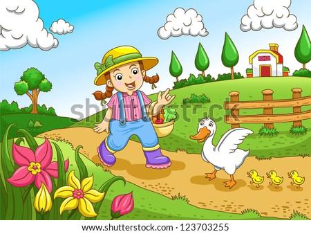 Cute little farmers girl at a farm - stock vector