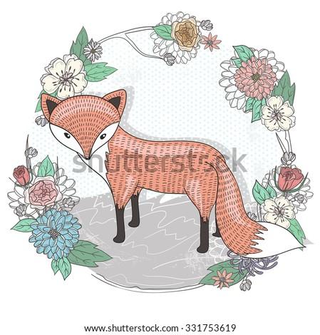 Cute little fox illustration. Flower frame. - stock vector