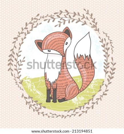 Cute little fox illustration for children - stock vector