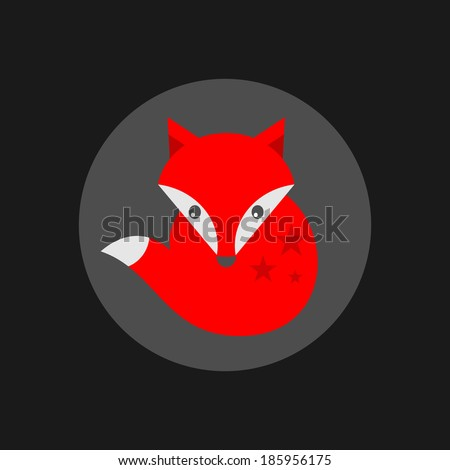 Cute little fox label. Vector illustration. - stock vector