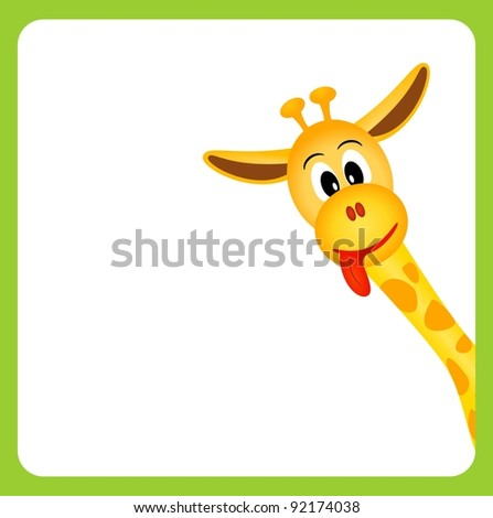 cute little giraffe on white background in green border - vector illustration