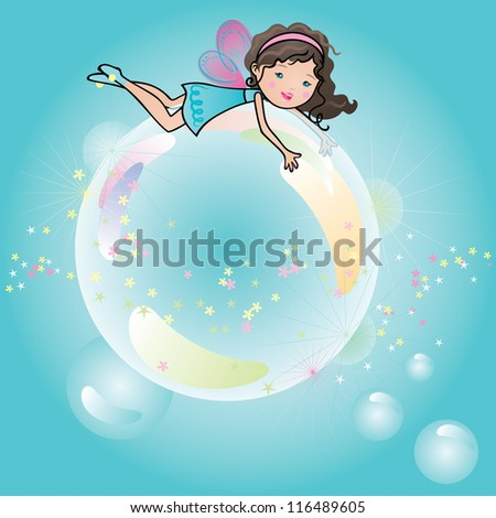 Cute little girl fairy floating on top off a bubble having fun. - stock vector