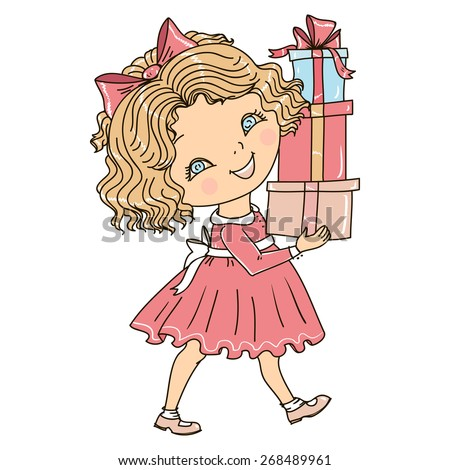 Cute little girl has a lot of gifts. Vector illustration. - stock vector