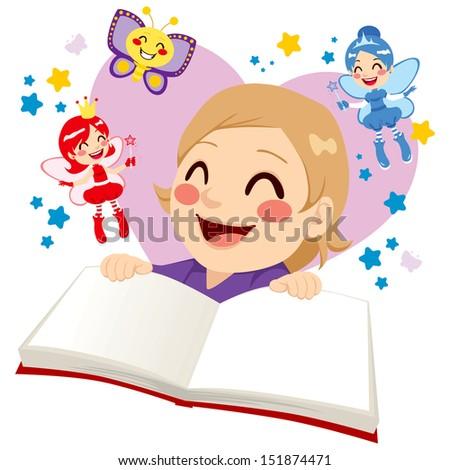 Cute little girl having fun reading a fairy tale fantasy book - stock vector