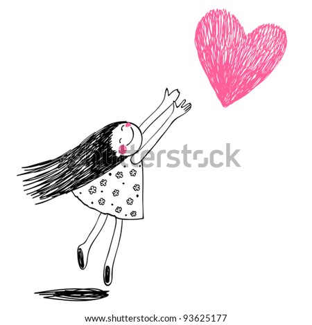 Little girl draw stock images royalty free images for Cute little doodles to draw