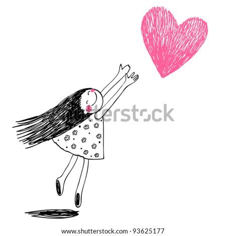 Cute little girl holding heart. VEctor doodles illustration - stock vector