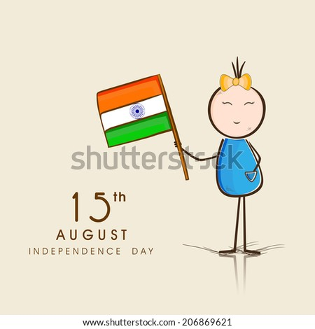 Cute little girl holding Indian national flag on beige background on the occasion of Independence Day celebrations.
