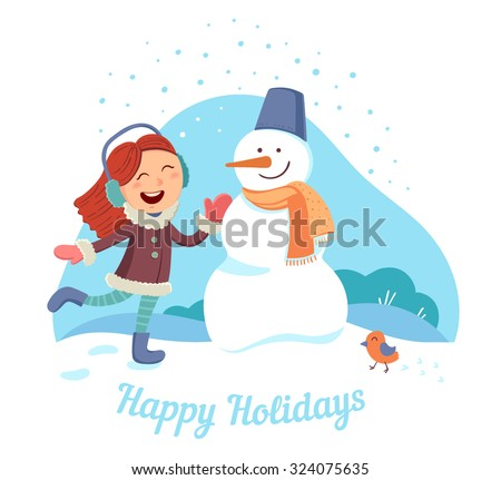 Cute little girl making a snowman. Greeting card or poster for christmas and New Year. Vector illustration. - stock vector
