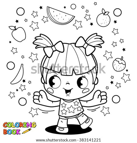 Cute little girl playing with fruits coloring book page.  - stock vector