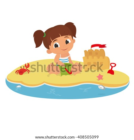 cute little girl playing with sand on tropical beach. vector. the little girl is a sand castle on the beach. Cute little girl playing in the sand on the beach. girl with toys on the beach. - stock vector