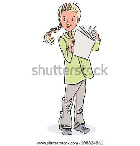 Cute little girl reading magazine, vector illustration. - stock vector