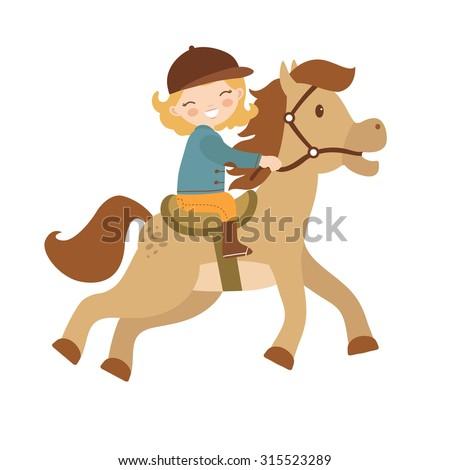 Cute little girl riding a horse. Vector illustration - stock vector