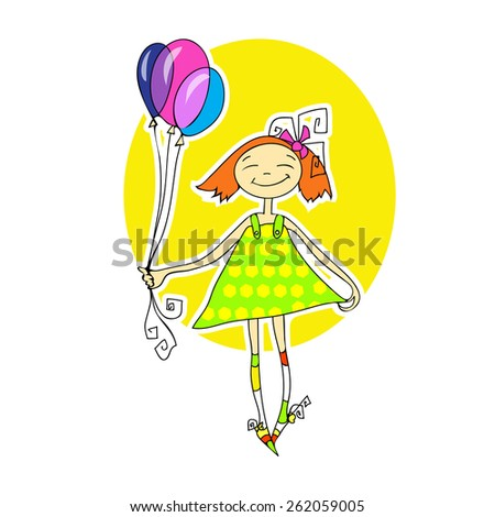 Cute little girl running with balloons - stock vector
