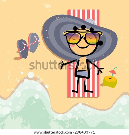 Cute Little girl tanning on beach, at the sea, ocean. Summer vacation vector illustration. - stock vector