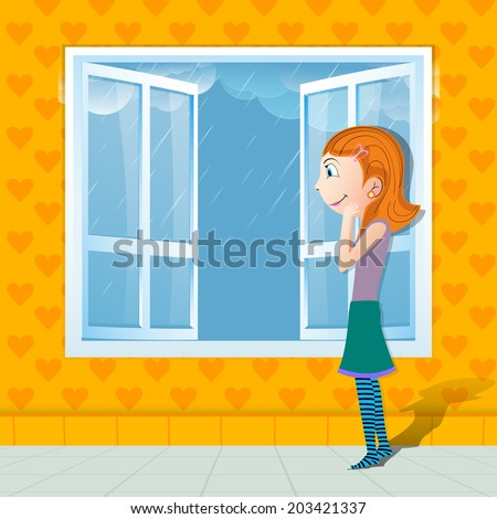 Cute Little Girl Watching Outside Raining From Glass Window Monsoon Season Background