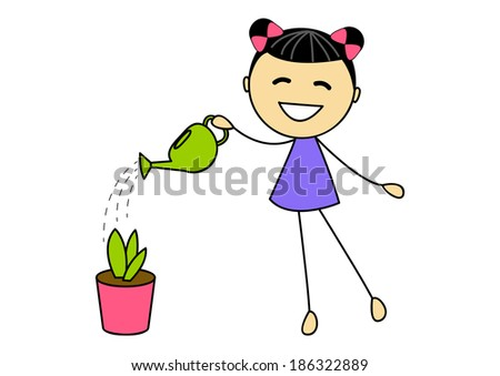 Cute little girl watering plant - stock vector