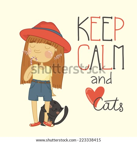 Cute little girl with candy and a kitten. Keep calm and love cats - stock vector