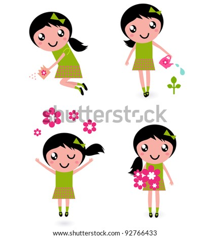 Cute little girl with spring Flowers isolated on white - stock vector