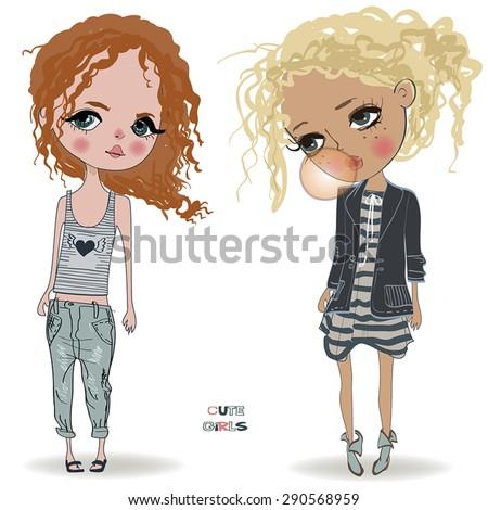 cute little girls - stock vector