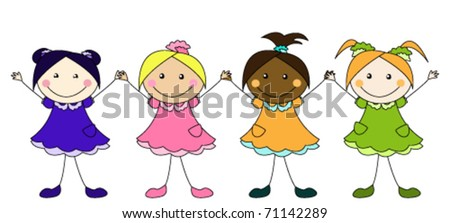 Cute little girls of different nationalities - stock vector